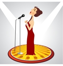 Cartoon female singer with microphone vector