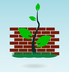 Brick wall grass concept vector