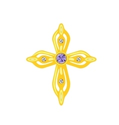 Golden cross with diamonds vector