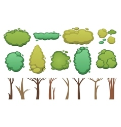 Nature cut tree collection elements vector