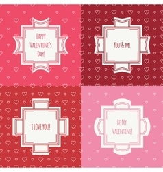 Set of red pink romantic seamless pattern with vector