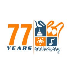 77 years gift box ribbon anniv vector image vector image