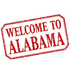Alabama - welcome red vintage isolated label vector