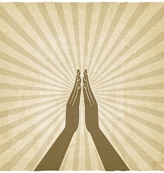 prayer hands symbol old background vector image