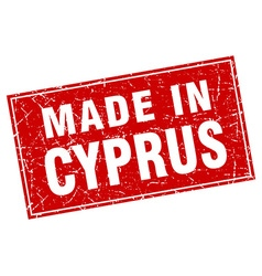 Cyprus red square grunge made in stamp vector