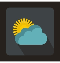 Sun and cloud icon flat style vector