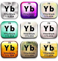 A periodic table button showing the Ytterbium vector image