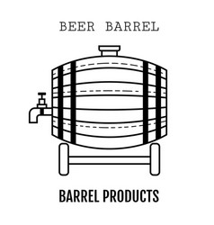 beer wooden barrel with a tap linear black and vector image vector image