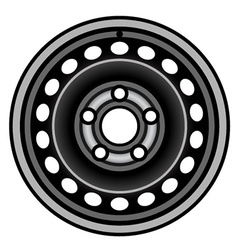 Black car iron wheel rim vector