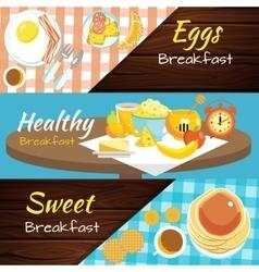Breakfast Flat Banner Set vector image