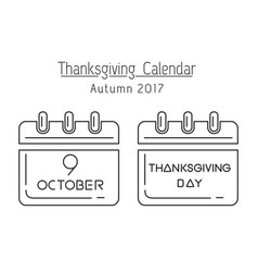 canadian thanksgiving calendar 2017 vector image vector image