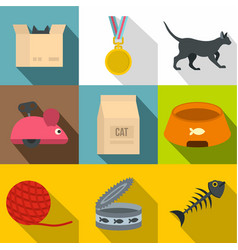 Cat care icon set flat style vector