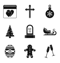 christmas parties icons set simple style vector image vector image