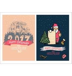 Cute christmas card happy new year family vector