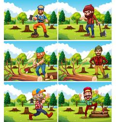 different deforestation scene with lumberjacks vector image vector image