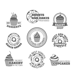 Donut cupcake label vector image vector image