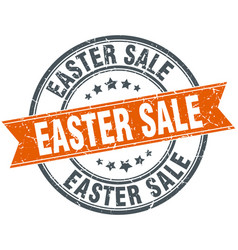 easter sale round grunge ribbon stamp vector image vector image