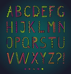 Fantasy hand drawn colorful font vector