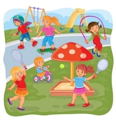 Girls playing on the playground vector