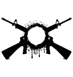 grunge frame with machine gun 1 vector image vector image