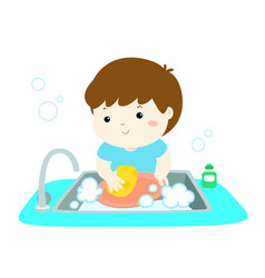 Happy boy washing dish on white background vector
