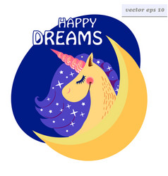 Happy dreams unicorn vector