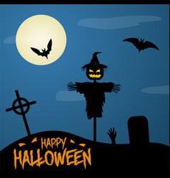 happy halloween poster on dark moon background vector image