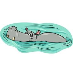 Hippo or hippopotamus in river cartoon vector