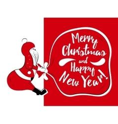 Holiday card with santa vector image vector image