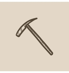 Ice pickaxe sketch icon vector
