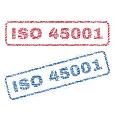 Iso 45001 textile stamps vector