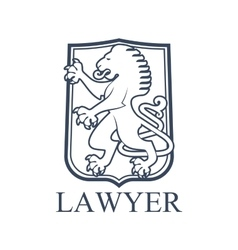 Lawyer icon or emblem with heraldic lion vector image