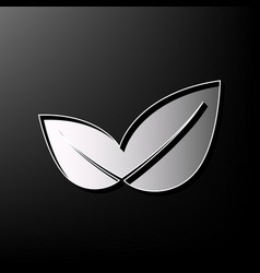 Leaf sign gray 3d printed vector