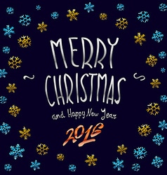Merry Christmas gold glittering lettering design vector image vector image