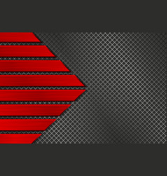 Metal texture with perforation and red brushed vector
