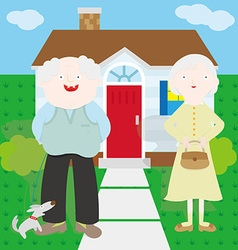 Old couple in front of the house vector image