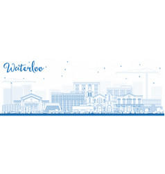 Outline waterloo iowa skyline with blue buildings vector
