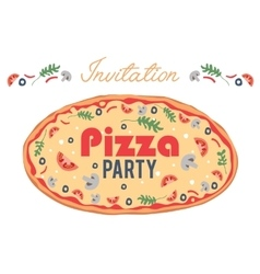Pizza party invitation poster flyer card vector