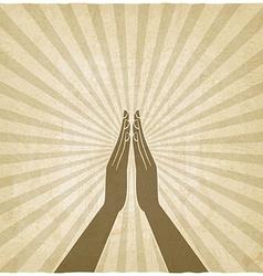 Prayer hands symbol old background vector