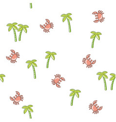 seamless pattern palm tree and crab vector image vector image