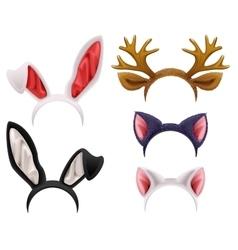 Set mask cat rabbit deer antler and ears vector image vector image