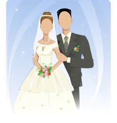 Template of wedding couple vector