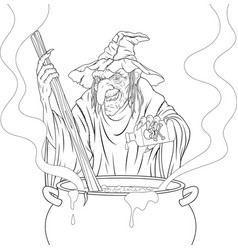 terrible witch cooks the potion vector image