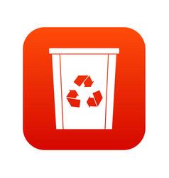 Trash bin with recycle symbol icon digital red vector