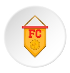 Yellow pennant with soccer ball icon cartoon style vector