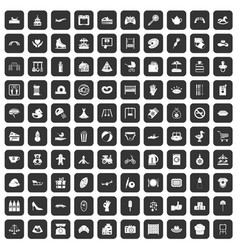 100 mother and child icons set black vector