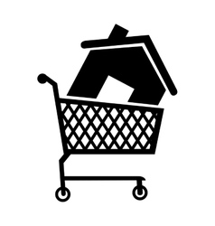 Cart house buy icon vector
