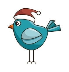 Blue bird with red hat vector