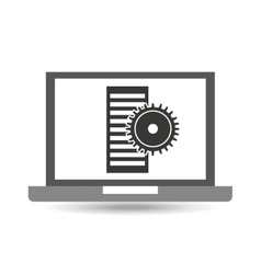 Laptop technology cpu gear icon graphic vector