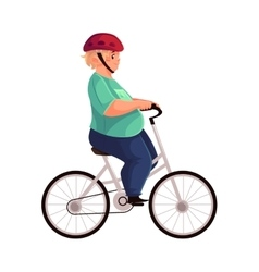 Fat boy cycling riding a bicycle wearing helmet vector